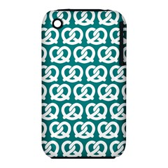 Teal Pretzel Illustrations Pattern Apple iPhone 3G/3GS Hardshell Case (PC+Silicone)