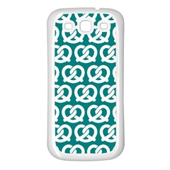 Teal Pretzel Illustrations Pattern Samsung Galaxy S3 Back Case (White)