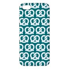 Teal Pretzel Illustrations Pattern iPhone 5S Premium Hardshell Case