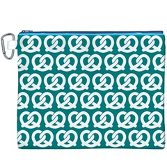 Teal Pretzel Illustrations Pattern Canvas Cosmetic Bag (XXXL)