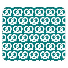 Teal Pretzel Illustrations Pattern Double Sided Flano Blanket (Small)