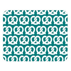Teal Pretzel Illustrations Pattern Double Sided Flano Blanket (Large)