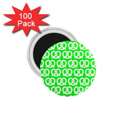 Neon Green Pretzel Illustrations Pattern 1.75  Magnets (100 pack)