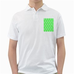 Neon Green Pretzel Illustrations Pattern Golf Shirts