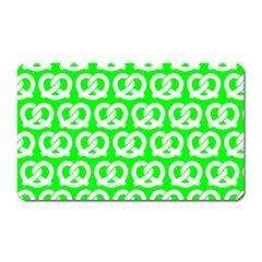 Neon Green Pretzel Illustrations Pattern Magnet (Rectangular)