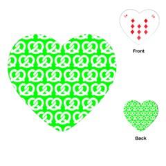 Neon Green Pretzel Illustrations Pattern Playing Cards (Heart)