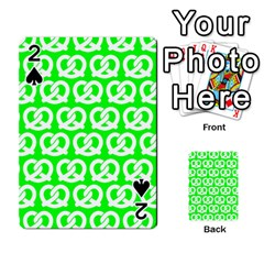 Neon Green Pretzel Illustrations Pattern Playing Cards 54 Designs