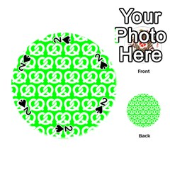 Neon Green Pretzel Illustrations Pattern Playing Cards 54 (Round)