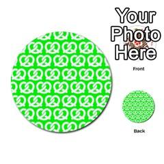 Neon Green Pretzel Illustrations Pattern Multi-purpose Cards (Round)