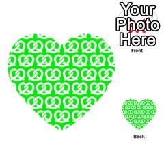 Neon Green Pretzel Illustrations Pattern Multi-purpose Cards (Heart)