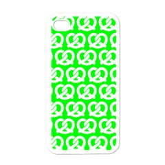 Neon Green Pretzel Illustrations Pattern Apple iPhone 4 Case (White)