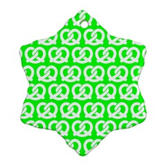 Neon Green Pretzel Illustrations Pattern Ornament (snowflake)