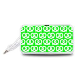 Neon Green Pretzel Illustrations Pattern Portable Speaker (White)