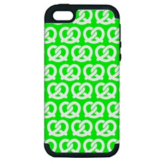 Neon Green Pretzel Illustrations Pattern Apple iPhone 5 Hardshell Case (PC+Silicone)