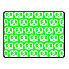 Neon Green Pretzel Illustrations Pattern Double Sided Fleece Blanket (small)