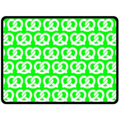Neon Green Pretzel Illustrations Pattern Double Sided Fleece Blanket (large)