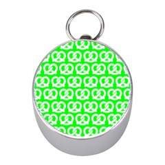 Neon Green Pretzel Illustrations Pattern Mini Silver Compasses