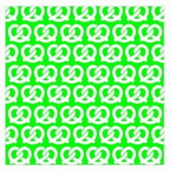 Neon Green Pretzel Illustrations Pattern Large Satin Scarf (square)