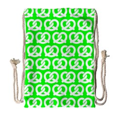Neon Green Pretzel Illustrations Pattern Drawstring Bag (Large)