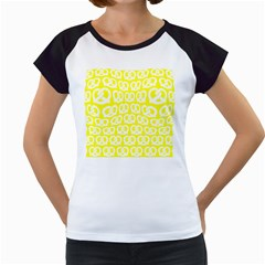 Yellow Pretzel Illustrations Pattern Women s Cap Sleeve T