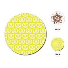 Yellow Pretzel Illustrations Pattern Playing Cards (round)