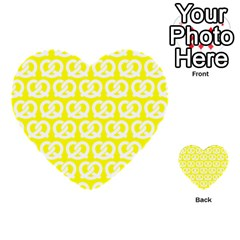 Yellow Pretzel Illustrations Pattern Multi Purpose Cards (heart)