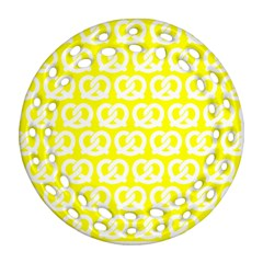 Yellow Pretzel Illustrations Pattern Ornament (round Filigree)