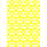Yellow Pretzel Illustrations Pattern Heart 3D Greeting Card (7x5)  Inside