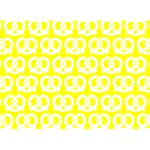 Yellow Pretzel Illustrations Pattern Heart 3D Greeting Card (7x5)  Back