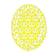 Yellow Pretzel Illustrations Pattern Ornament (Oval Filigree)