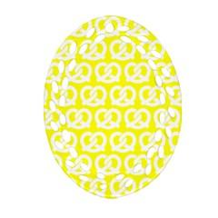 Yellow Pretzel Illustrations Pattern Ornament (oval Filigree)