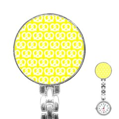 Yellow Pretzel Illustrations Pattern Stainless Steel Nurses Watches