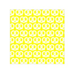 Yellow Pretzel Illustrations Pattern Small Satin Scarf (Square)