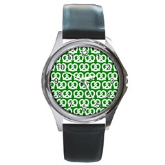 Green Pretzel Illustrations Pattern Round Metal Watches