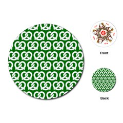 Green Pretzel Illustrations Pattern Playing Cards (Round)