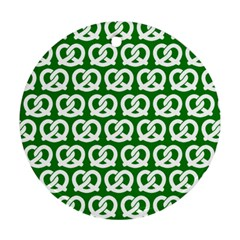 Green Pretzel Illustrations Pattern Round Ornament (Two Sides)