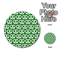 Green Pretzel Illustrations Pattern Multi-purpose Cards (Round)