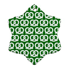 Green Pretzel Illustrations Pattern Ornament (Snowflake)