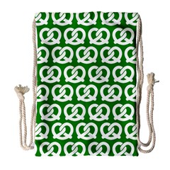 Green Pretzel Illustrations Pattern Drawstring Bag (Large)