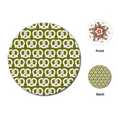 Olive Pretzel Illustrations Pattern Playing Cards (Round)