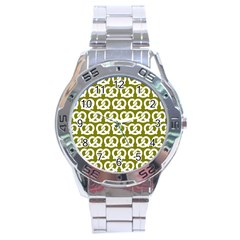 Olive Pretzel Illustrations Pattern Stainless Steel Men s Watch