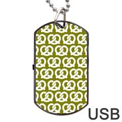 Olive Pretzel Illustrations Pattern Dog Tag USB Flash (One Side)