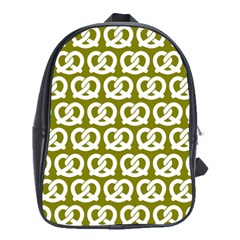 Olive Pretzel Illustrations Pattern School Bags (XL)