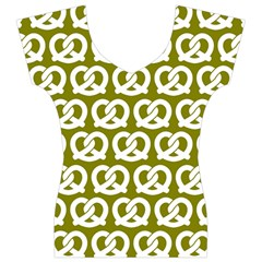 Olive Pretzel Illustrations Pattern Women s V-Neck Cap Sleeve Top