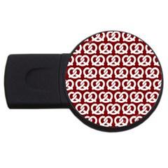 Red Pretzel Illustrations Pattern USB Flash Drive Round (2 GB)