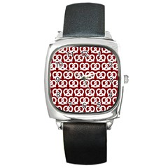 Red Pretzel Illustrations Pattern Square Metal Watches
