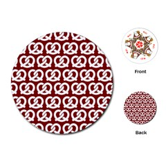 Red Pretzel Illustrations Pattern Playing Cards (round)