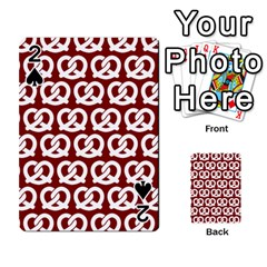 Red Pretzel Illustrations Pattern Playing Cards 54 Designs