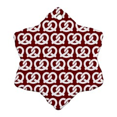 Red Pretzel Illustrations Pattern Ornament (Snowflake)