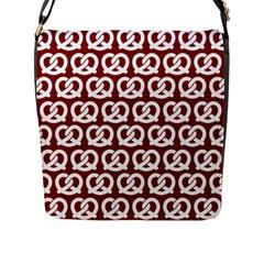 Red Pretzel Illustrations Pattern Flap Messenger Bag (L)